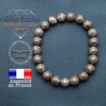 bracelet en pierre naturelle en obsidienne neige brune et sa boule de finition om mani en argent plaqué