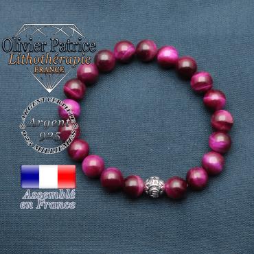 bracelet en pierre naturelle en oeil de tigre teinte violette et sa boule de finition om mani en argent plaqué