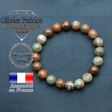 bracelet en pierre naturelle en opale verte africaine et sa boule de finition om mani en argent plaqué