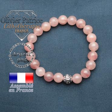 bracelet en pierre naturelle en quartz fraise lépidocrocite et sa boule de finition om mani en argent plaqué