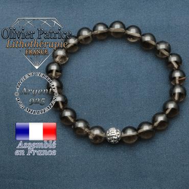 bracelet en pierre naturelle en quartz fume et sa boule de finition om mani en argent plaqué