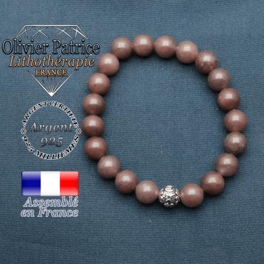 bracelet en pierre naturelle en quartz vin et sa boule de finition om mani en argent plaqué