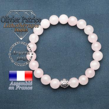 bracelet en pierre naturelle en quartz rose et sa boule de finition om mani en argent 925