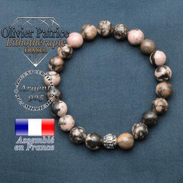 bracelet en pierre naturelle en rhodonite et sa boule de finition om mani en argent plaqué