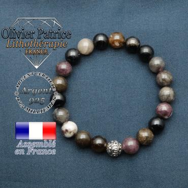 bracelet en pierre naturelle en tour maline elbaite et sa boule de finition om mani en argent plaqué