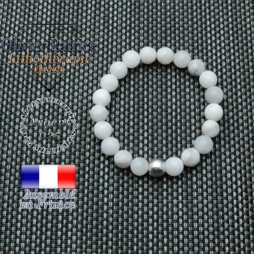 Bracelet agate grise et sa boules lisse en argent 925  de 8 mm