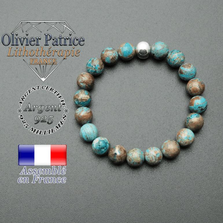 bracelet en pierre naturelle et sa finition boule lisse en argent 925 sa pierre est de l'agate crazy lace bleu