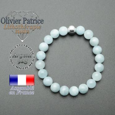 bracelet en pierre naturelle et sa finition boule lisse en argent 925 sa pierre est en aigue marine