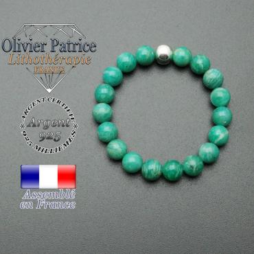 bracelet en pierre naturelle et sa finition boule lisse en argent 925 sa pierre est en amazonite de russie