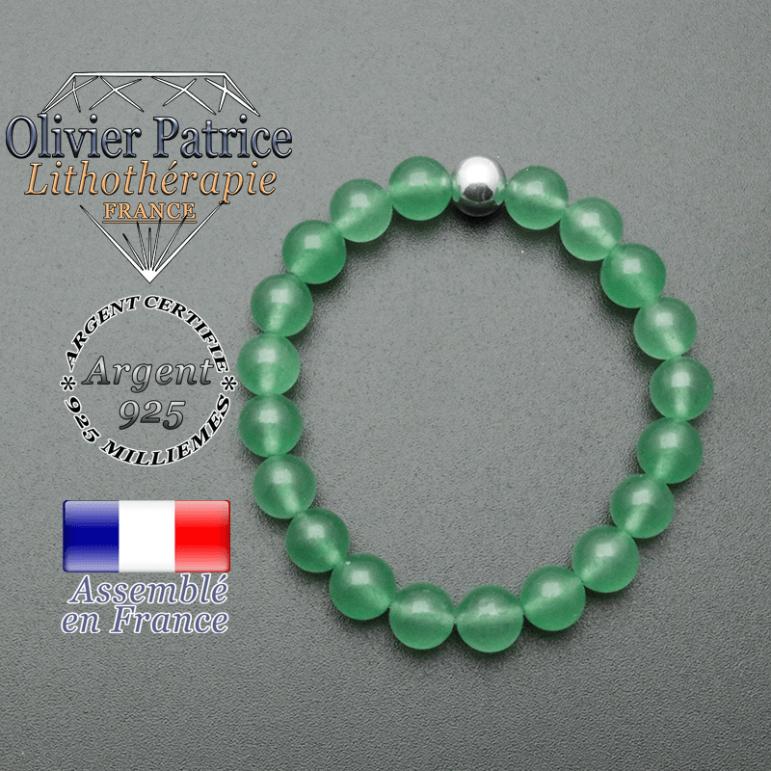 bracelet en pierre naturelle et sa finition boule lisse en argent 925 sa pierre est en aventurine