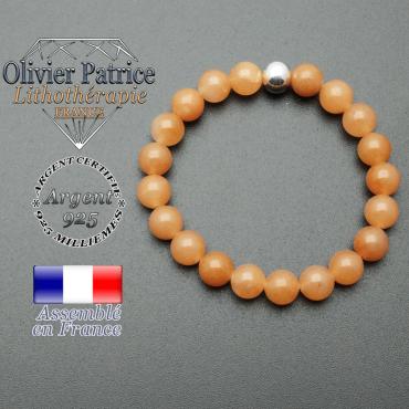 bracelet en pierre naturelle et sa finition boule lisse en argent 925 sa pierre est en aventurine orange