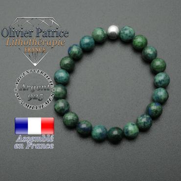 bracelet en pierre naturelle et sa finition boule lisse en argent 925 sa pierre est en azurite malachite