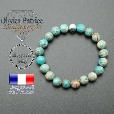 bracelet en pierre naturelle et sa finition boule lisse en argent 925 sa pierre est en agate dentelle