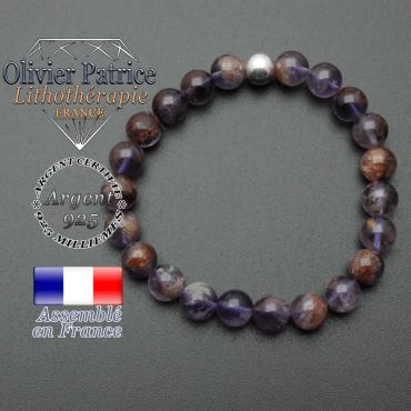 bracelet en pierre naturelle et sa finition boule lisse en argent 925 sa pierre est en cacoxenite