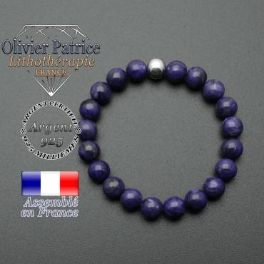 bracelet en pierre naturelle et sa finition boule lisse en argent 925 sa pierre est en charoite