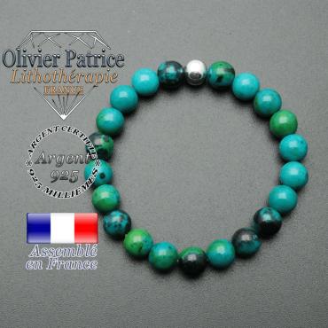 bracelet en pierre naturelle et sa finition boule lisse en argent 925 sa pierre est en chrysocolle