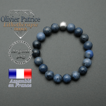 bracelet en pierre naturelle et sa finition boule lisse en argent 925 sa pierre est en dumortierite