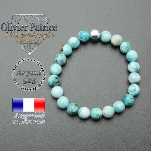 bracelet en pierre naturelle et sa finition boule lisse en argent 925 sa pierre est en hemimorphite