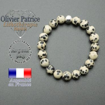 bracelet en pierre naturelle et sa finition boule lisse en argent 925 sa pierre est en jaspe dalmatien