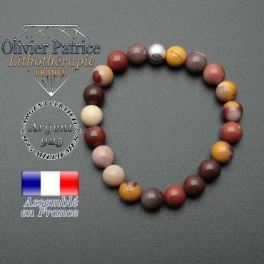 bracelet en pierre naturelle et sa finition boule lisse en argent 925 sa pierre est en jaspe mokaite