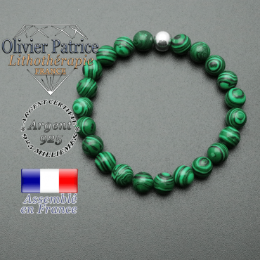 bracelet en pierre naturelle et sa finition boule lisse en argent 925 sa pierre est en malachite