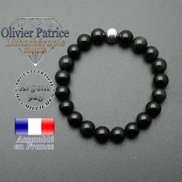 bracelet en pierre naturelle et sa finition boule lisse en argent 925 sa pierre est en obsidienne oeil celeste