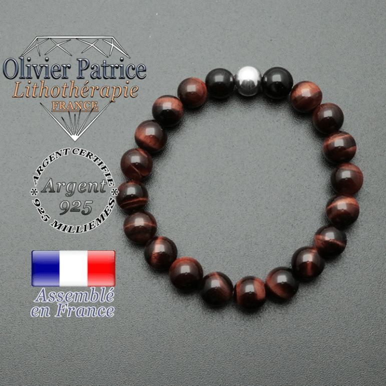 bracelet en pierre naturelle et sa finition boule lisse en argent 925 sa pierre est en oeil de taureau