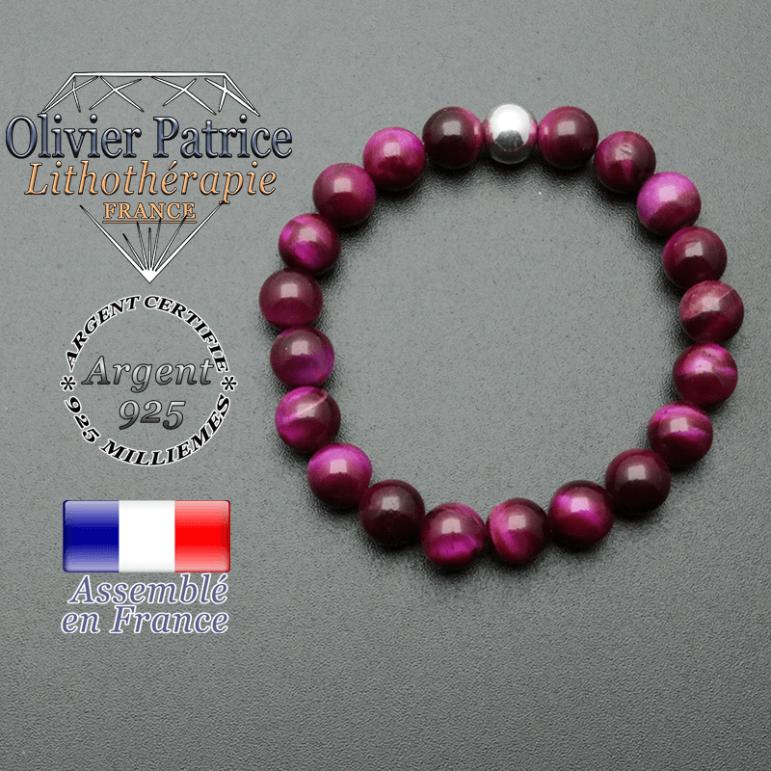 bracelet en pierre naturelle et sa finition boule lisse en argent 925 sa pierre est en oeil de tigre teinte violette