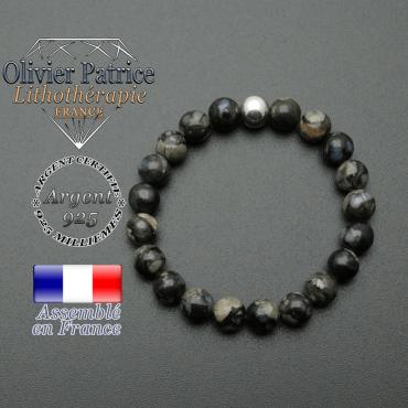 bracelet en pierre naturelle et sa finition boule lisse en argent 925 sa pierre est en opale grise