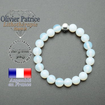 bracelet en pierre naturelle et sa finition boule lisse en argent 925 sa pierre est en opale