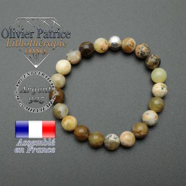 bracelet en pierre naturelle et sa finition boule lisse en argent 925 sa pierre est en opale jaune africaine
