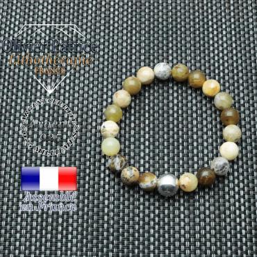 bracelet en opale jaune d'afrique et sa boule de 8mm en argent 925