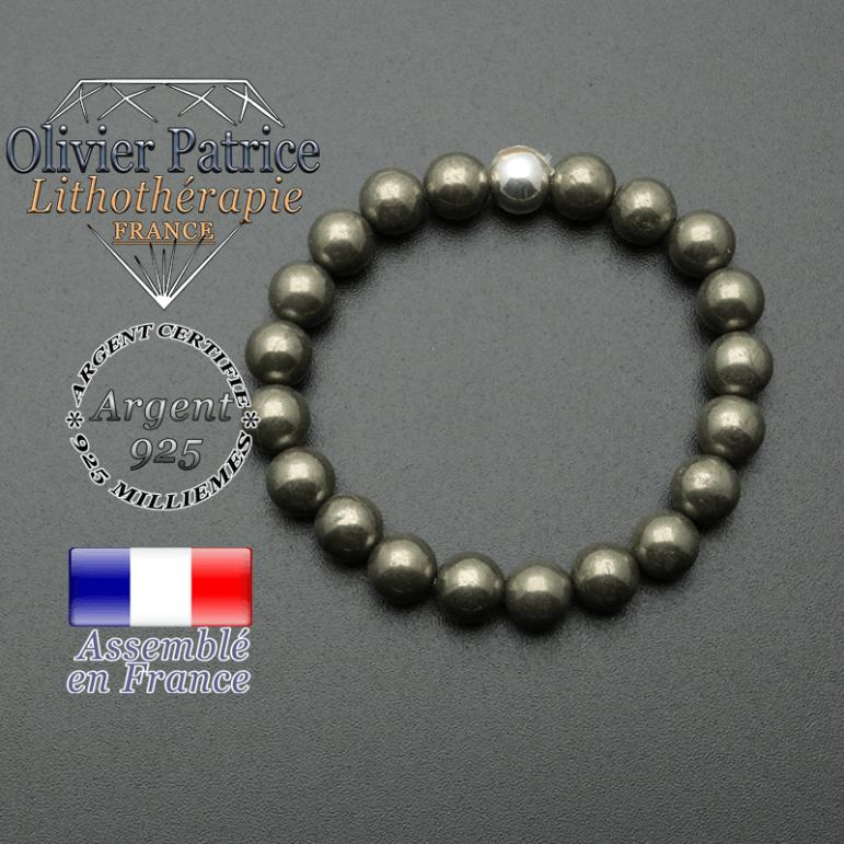 bracelet en pierre naturelle et sa finition boule lisse en argent 925 sa pierre est en pyrite
