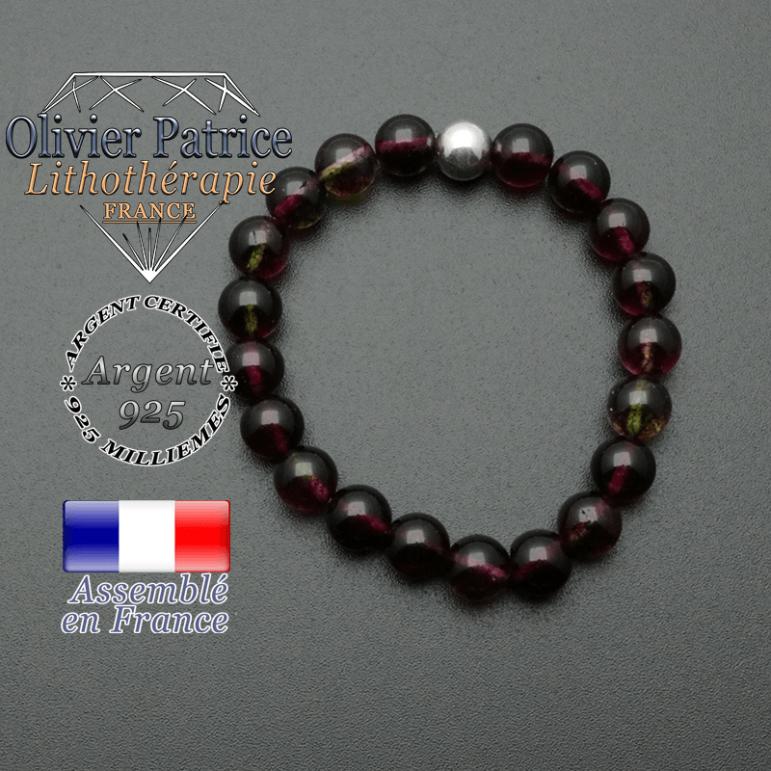 bracelet en pierre naturelle et sa finition boule lisse en argent 925 sa pierre est en tourmaline melon d'eau