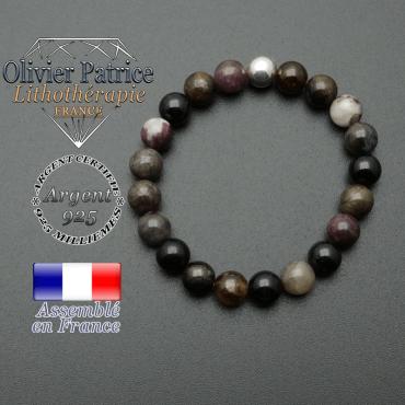 bracelet en pierre naturelle et sa finition boule lisse en argent 925 sa pierre est en tourmaline elbaite