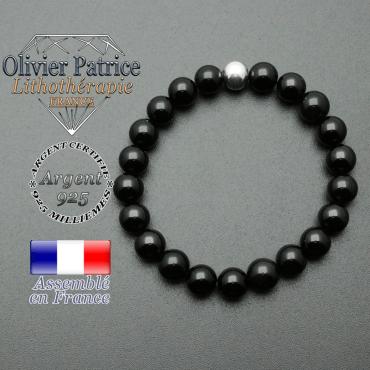 bracelet en pierre naturelle et sa finition boule lisse en argent 925 sa pierre est en tourmaline