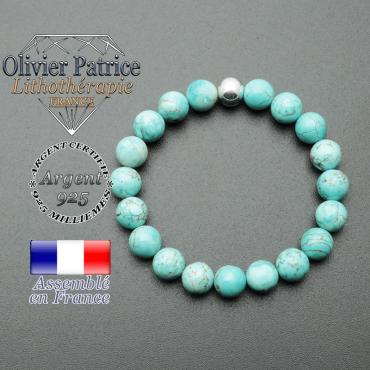 bracelet en pierre naturelle et sa finition boule lisse en argent 925 sa pierre est en turquoise