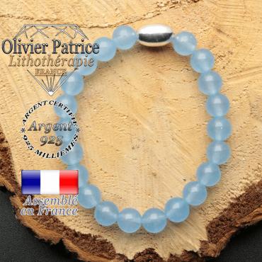 bracelet en pierre naturelle et son appret olive en argent 925 sa pierre est de l'agate bleue