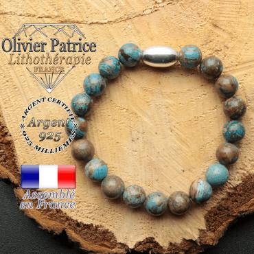 bracelet en pierre naturelle et son appret olive en argent 925 sa pierre est de l'agate bleue crazy lace