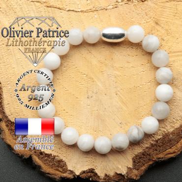 bracelet en pierre naturelle et son appret olive en argent 925 sa pierre est de l'agate grise