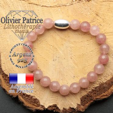 bracelet en pierre naturelle et son appret olive en argent 925 sa pierre est en quartz fraise ou lepidocrosite