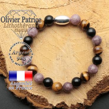 bracelet en pierre naturelle et son appret olive en argent 925 ses pierres sont de l'obsidienne oeil tigre lepidolite