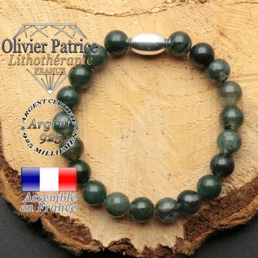 bracelet en pierre naturelle et son appret olive en argent 925 sa pierre est de l'agate mousse