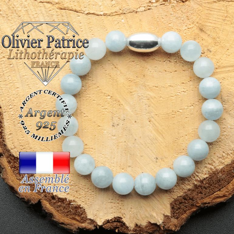 bracelet en pierre naturelle et son appret olive en argent 925 sa pierre est de l'aigue marine