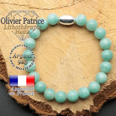 bracelet en pierre naturelle et son appret olive en argent 925 sa pierre est de l'amazonite