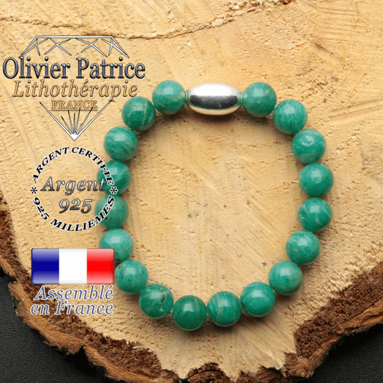 bracelet en pierre naturelle et son appret olive en argent 925 sa pierre est de l'amazonite de russie
