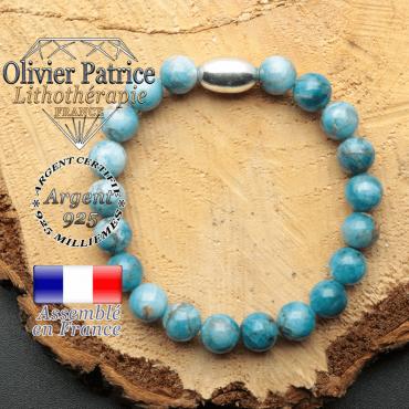 bracelet en pierre naturelle et son appret olive en argent 925 sa pierre est de l'apatite