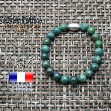 bracelet en pierre naturelle et son appret olive en argent 925 ; sa pierre est de l'azurite malachite
