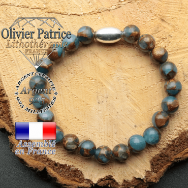 bracelet en pierre naturelle et son appret olive en argent 925 sa pierre est de la bornite bleue