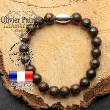 bracelet en pierre naturelle et son appret olive en argent 925 sa pierre est de la bronzite